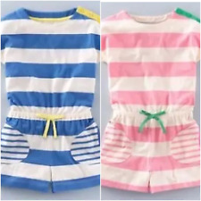 Girls Mini Boden Jersey Striped Jumpsuit Playsuit in Pink or Blue Age 1.5-12