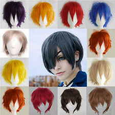 Unisex Anime Full Wigs Cospaly Short Hair Party Fancy Dress Wig Black Blonde RW