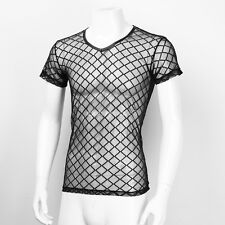 Men Sexy Black Top Stylish Short Sleeve Openwork Mesh Sheer Muscle Fit T-Shirt