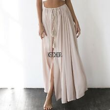 New Fashion Women Casual Solid Waist Lace Up A-Line Pleated Side Split KECP01