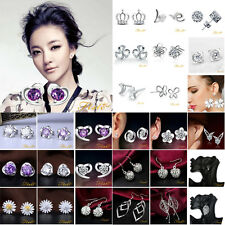 Wholesale 925 Sterling Silver Earrings Ear Stud Women Fashion Jewelry Xmas Gift