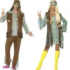 Mens 60's Hippy Womens 60s Hippie Chick Groovy Adult Fancy Dress Costume Wig