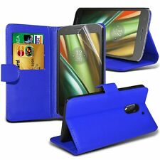 Leather Stand Wallet Case Cover With LCD Screen Protector For Motorola Models