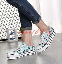 Womens Floral print casual Sneakers Lace Up Canvas Casual Shoes flat skate board