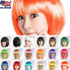 US Fashion Women Lady Short Straight Hair Full Wigs Cosplay Party Bob Hair Wig