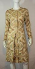 Vtg 60s Iconic Mod Baroque Paisley Linen Quality Dress Coat Gay Gibson XS/S