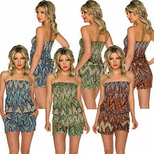 Bandeau Overall Jumpsuit strapless Hot Pants Of Shorts Ethnic Patterns Fashion S