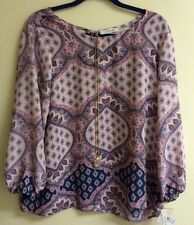 NWT Lily Black Medallion Print Blouse Top w/ Necklace