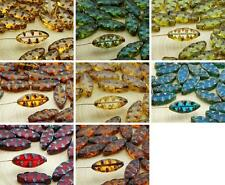 8pcs Picasso Flat Oval Waved Carved Petal Window Table Cut Czech Glass Beads 18m