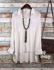 Embroidered Eyelet Button Down Top Blouse Boho Cowgirl Western Country Cotton