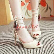 Summer Womens sexy peep toe slim high Heels OL Sandals lace up Shoes Size pumps