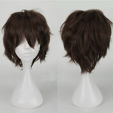 Unisex Anime Short Wig Straight Hair Cosplay Party Sythetic Full Wigs Dark Brown