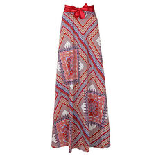 Lover Beauty Long Maxi Skirt Red Maxi Dress Waist Bow Knot Geometric Maxi Skirt