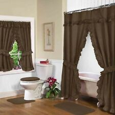 NEW CHOCOLATE BROWN Double Swag Shower Curtain with Liner & Tiebacks