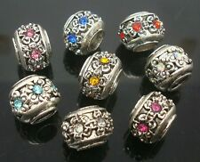 Fashion Round Flower Rhinestone Tibetan Silver Spacer Bead Fit European Bracelet