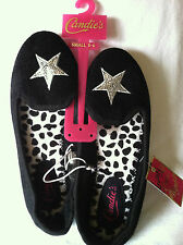 NWT Candie's Black Velveteen Sequin Star Tuxedo slippers Sz.S(5/6) NEW