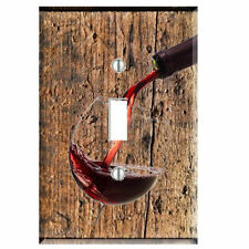 Wine Glass Distressed Wood Light Switch Cover Plate Wall Cover Pouring Red Wine