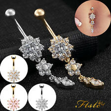 Belly Bar Navel Button Ring Crystal Gem Dangly Surgical Steel Body Jewellery UK