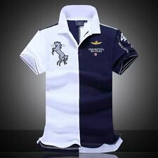 summer new men's boutique embroidery breathable 100% cotton polo shirt