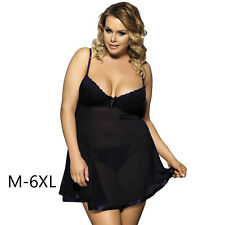 Sexy Women Plus Size Babydoll Lingerie Braces Dress Underwear Sleepdress M-6XL
