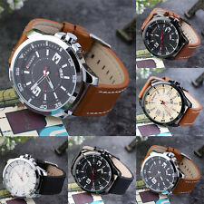 Large Dial Leather Business Single Day Display Waterproof Men Quartz Watch XP