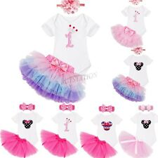 3PCS 1st Birthday Baby Girls Romper Jumpsuit Tops+ Tulle Skirt+ Headband Outfit