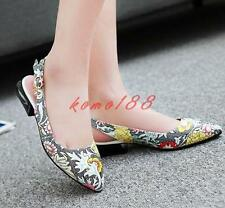 New Womens low block heel floral printing slingback shoes buckle slip on loafer