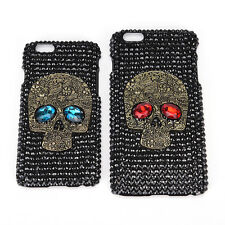 Luxury Bling Rhinestone Diamonds Crystal Skull Head Back Phone Cases Cover Skin