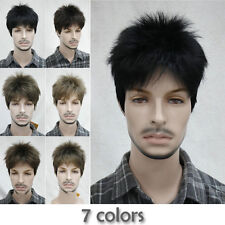 7 Colors Short Menfolk Man Men Male Daily Wear Hair Full Wig Wigs + Free Wig Cap