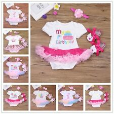 Baby Girl 1st Birthday Party Tutu Dress Romper Headband Outfit Shoes  3PCS /set