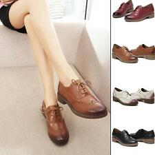 Womens oxford preppy girls Shoes Lace-up Dress Brogue Wing tip carving shoes