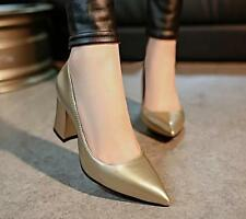 Fashion Womens Pointy Toe Dress OL Shoes mid block Heel Elegant Shoes colors