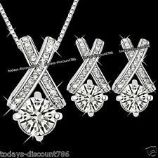 CLEAR CRYSTAL NECKLACE EARRINGS SET CZ LOVE PRESENT XMAS GIFT FOR HER WIFE WOMEN