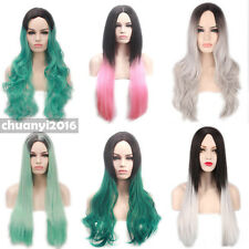 Harajuku Ombre Middle Part Wavy Curly Women Hair Cosplay Wig Heat Resistant