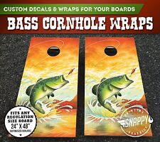 Bass Fishing Cornhole Vinyl Decals, Bag Toss Illustrated Custom Board Wraps