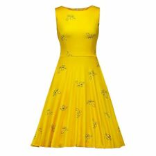 Women Vintage Summer Yellow Color Floral Print Sleeveless Party Dress
