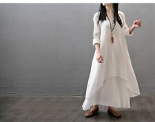 White Color Loose Spring Summer Cotton Long Maxi Casual Dress For Women