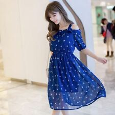 Half Sleeve Spaghetti Strap Ruffle Decorated Casual Knee Length Dress For Women