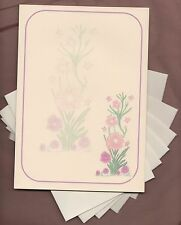 Pink Flowers /Butterfly Watermark Letter Writing Paper Envelopes Stationery Set