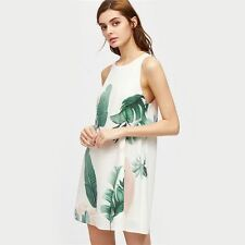 Women Print Keyhole Back Summer White Color Sleeveless Cut Out Back Dress