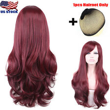 US Women Sexy Long Wavy Curly Bang Hair Full Wig Club Cutie Cosplay With Hairnet
