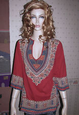 Worn ONCE! LUCKY BRAND Boho Graphic Tribal TUNIC, Peasant Top, Cotton Dashiki, L