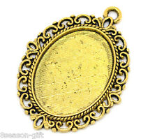 Wholesale Lots Gift HX Gold Tone Oval Frame Cameo Settings 39x29mm