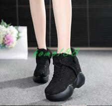 Womens Fashion Sneakers Lace up glitter Shoes Hidden Wedge Heel Size ankle boots