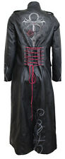 VAMPIRE'S KISS Gothic Trench Coat PU-Leather Corset Back/Rock/Biker/Metal/Goth
