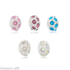 Wholesale Lots Mixed Plated Rhinestone Spacer Beads Fits Charm Bracelet 11x6mm
