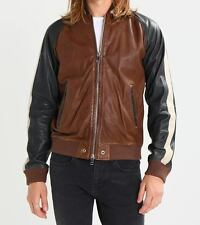 Mens Wrangler Style Bomber Real Soft Sheep Leather Jacket