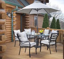 7 Piece Cushion Patio Dining Set with Optional Umbrella Outdoor Home Furniture