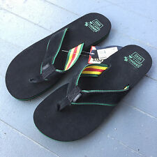 "VANS ""SIDE SLIP"" SANDALS FLIP FLOPS (MEN'S SIZE 11) (BLACK/RASTA) (VN-0OY20NE)"