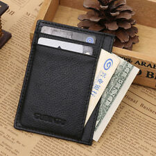 Mens Leather Money Clip Slim Wallet ID Credit Card Holder Purse New US Location